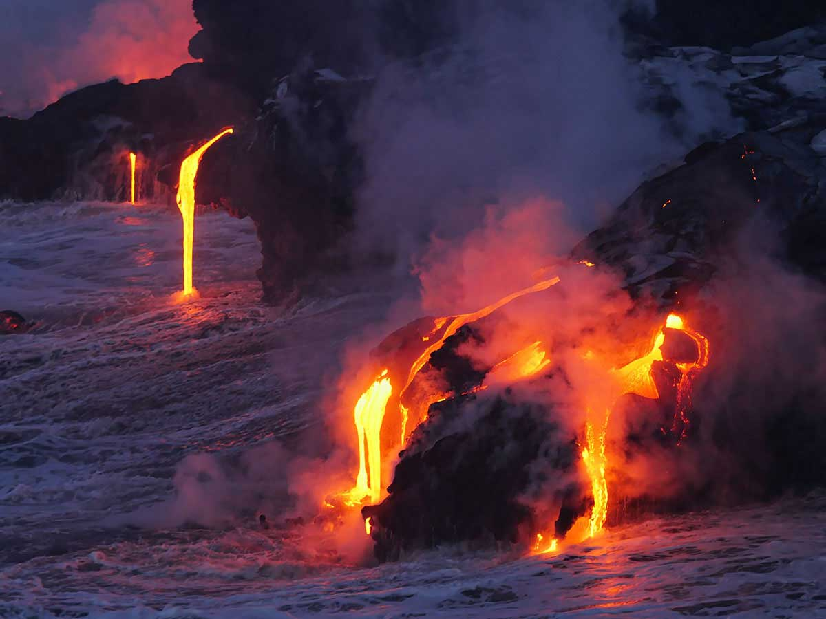 Lava flowing into the ocean.